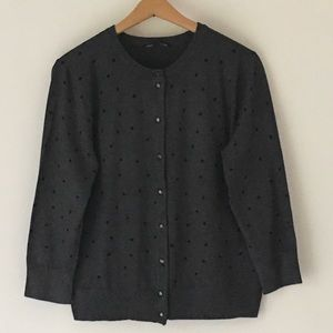 Cable & Gauge Cardigan Polka Dot  3/4 Slv Button
